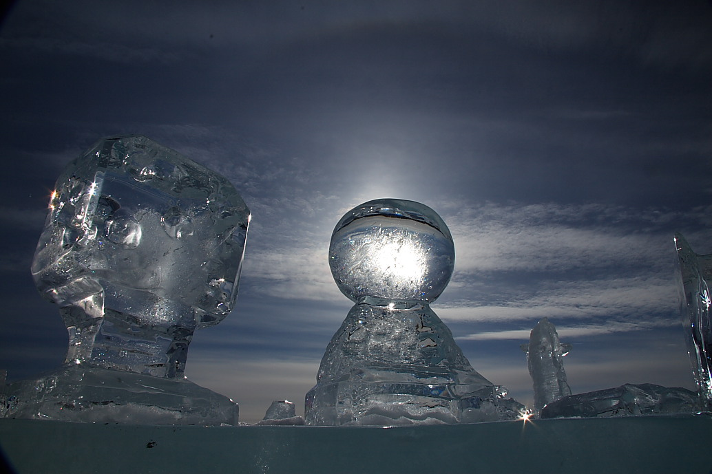 Some of the many ice sculptures in the gallery outdoors overlooking the river.